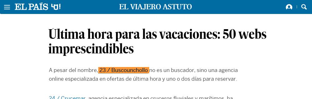 BuscoUnChollo en El Viajero Astuto (blog de El País)