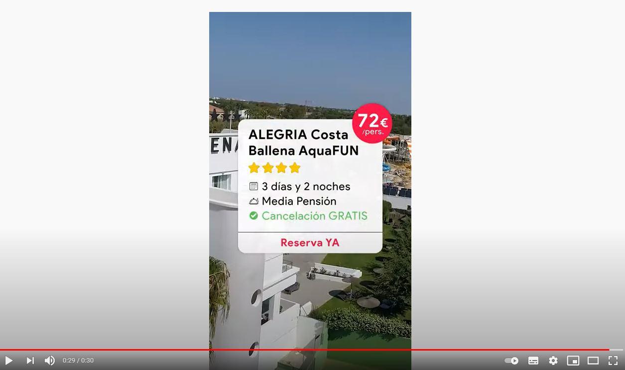Vídeo en Youtube sobre la aventura refrescante del Hotel Alegria Costa Ballena AquaFUN
