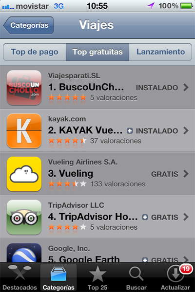 La aplicación para Iphone de Busco Un Chollo en el Top 1 de la App Store