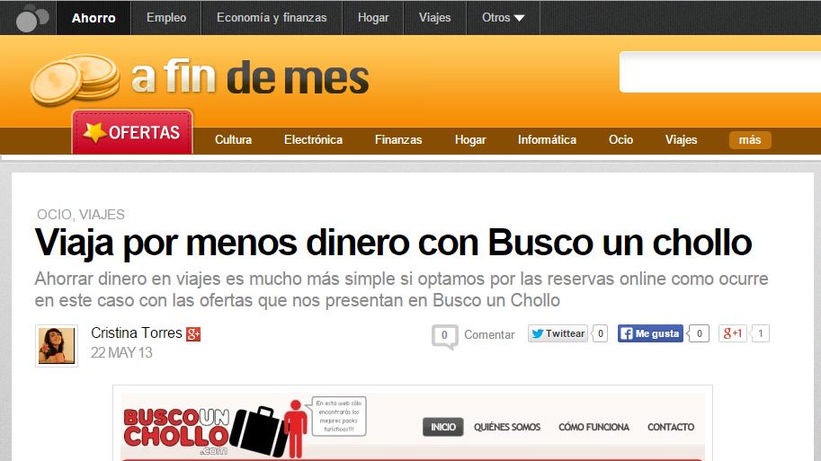 En A fin de Mes hablan sobre la web de BuscoUnChollo.com