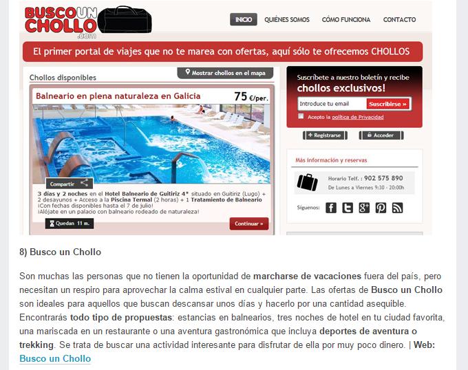 TuExperto.com considera BuscoUnChollo.com como una de las 10 mejores webs para reservar vacaciones baratas
