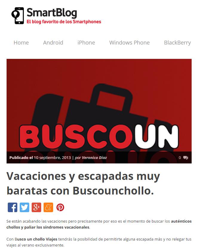 Smartblog.es habla sobre app de BuscoUnChollo.com