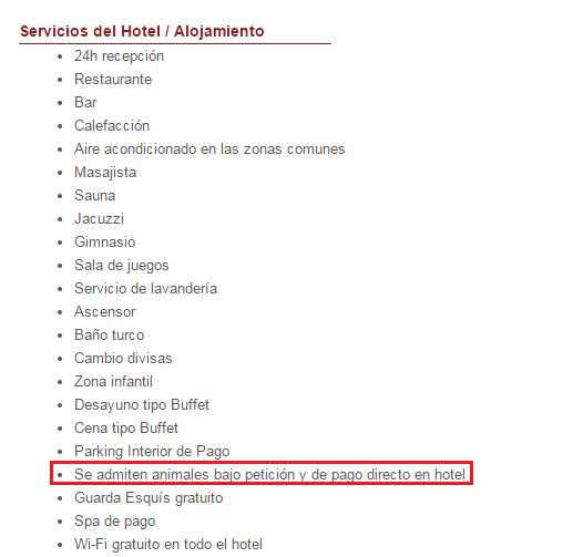 Servicios del hotel/alojamiento