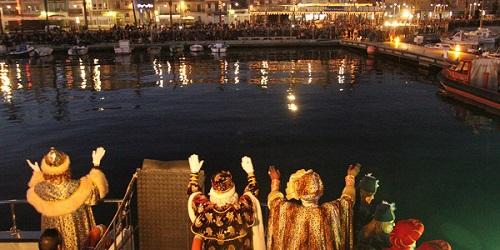 Los Reyes Magos llegando al Puerto de Tarragona