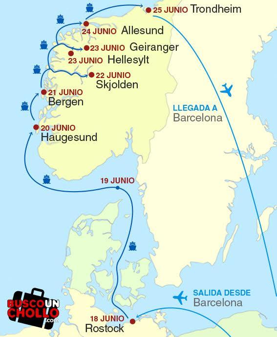 Mapa fiordos Norruegos Crucero Pullmantur
