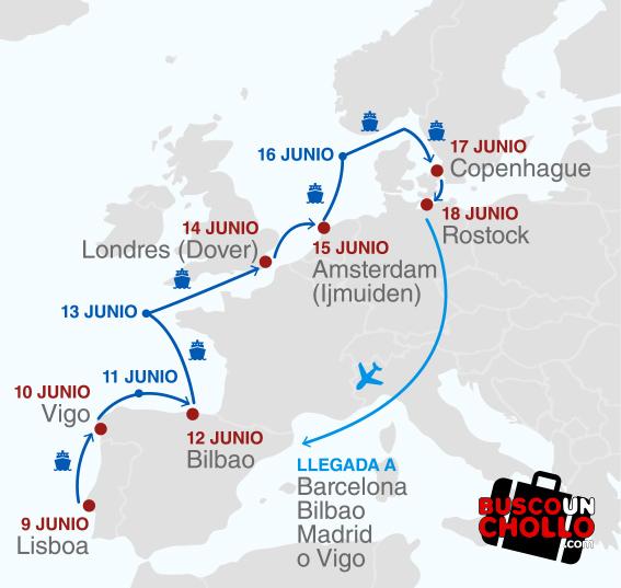 mapa crucero Pullmantur
