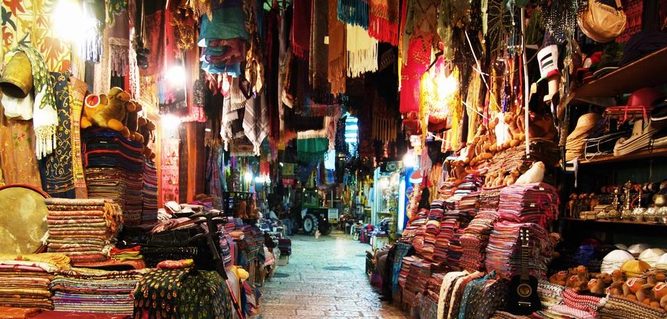 Market in old town district of Jerusalem