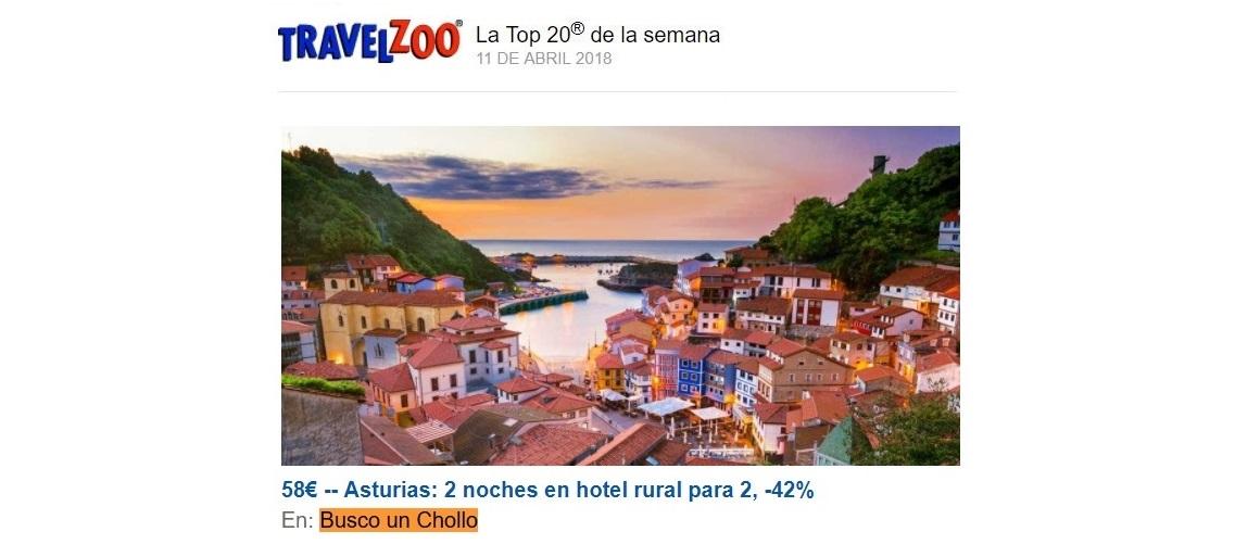¡Travelzoo publica nuestro chollo a Asturias en su newsletter!
