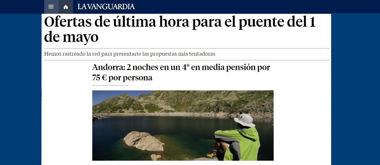 La Vanguardia destaca nuestros chollos para el Puente de mayo
