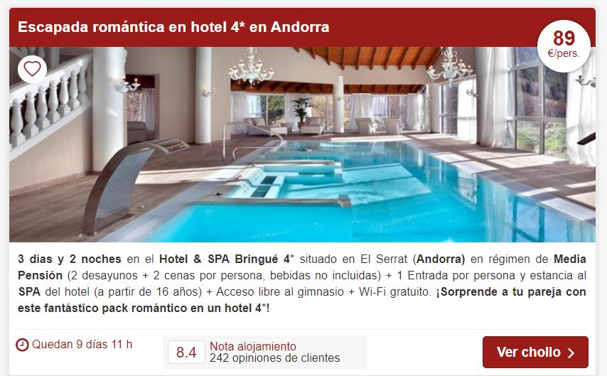 Chollo en Hotel & Spa Bringué Andorra